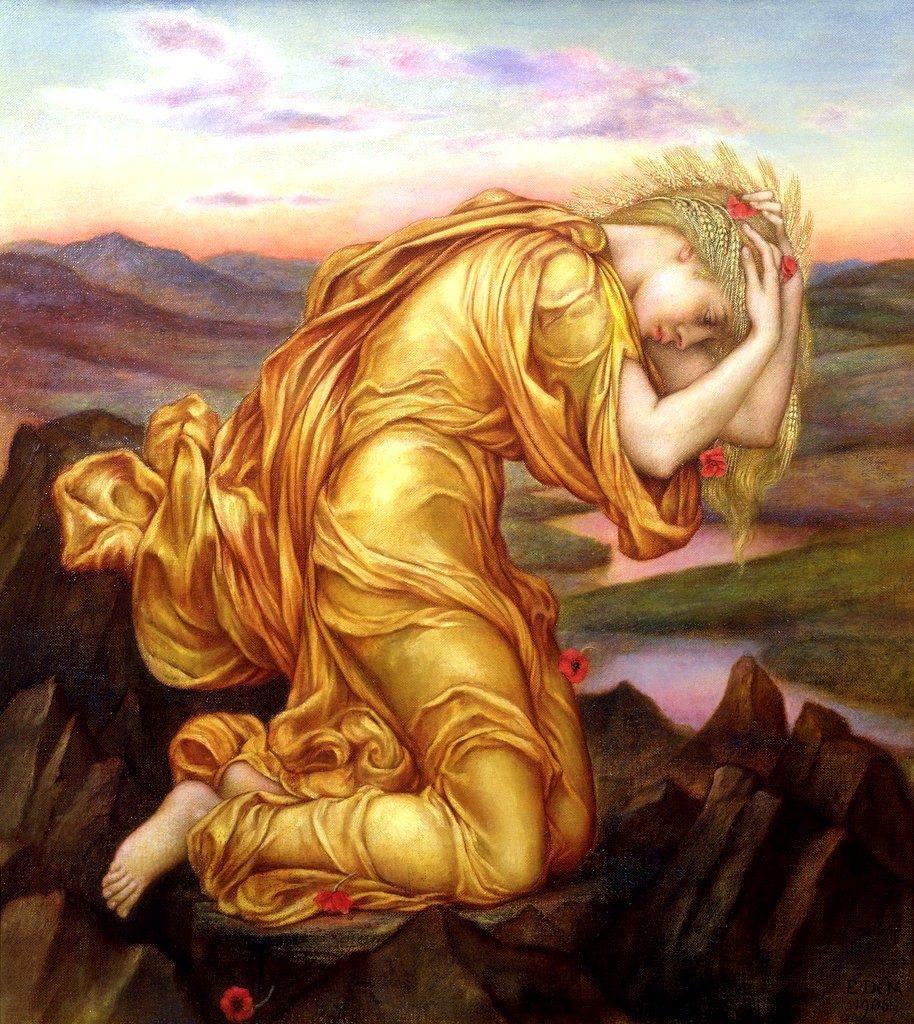 El destino de Perséfone (Demeter mourning Persephone de Evelyn de Morgan)